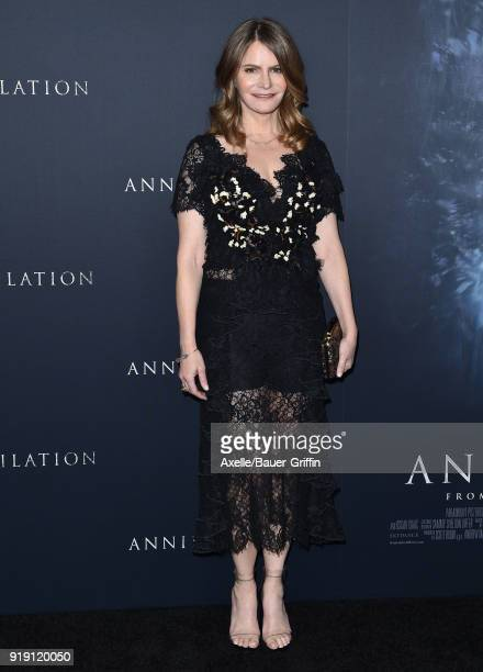 Actress Jennifer Jason Leigh attends the Los Angeles premiere of 'Annihilation' at Regency Village Theatre on February 13 2018 in Westwood California