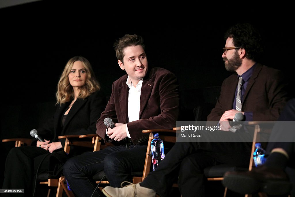 Actress Jennifer Jason Leigh, director/producer Duke Johnson and writer/director/producer Charlie Kaufman attend the screening and Q&A for the Paramount Pictures film 'Anomalisa' at the Egyptian Theater on November 10, 2015 in Hollywood, California.