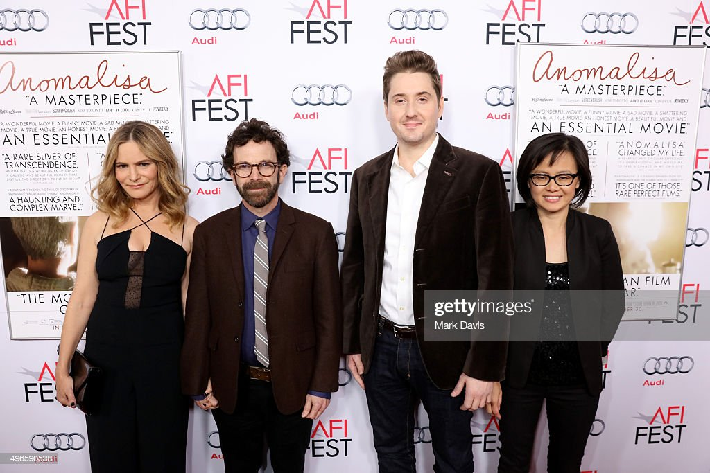 Actress Jennifer Jason Leigh, writer/director/producer Charlie Kaufman, director/producer Duke Johnson and producer Rosa Tran attend the screening and Q&A for the Paramount Pictures film 'Anomalisa' at the Egyptian Theater on November 10, 2015 in Hollywood, California.
