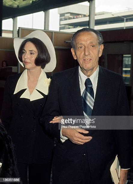 Actress Jennifer Jones and her husband Norton Simon a philanthropist and art collector at Heathrow Airport near London circa June 1971