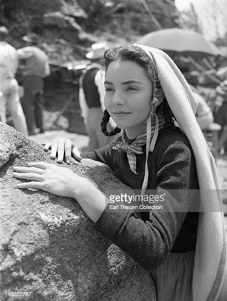 Actress Jennifer Jones on the set of the 20th CenturyFox film 'The Song of Bernadette' circa 1943 at the Fox ranch in Calabasas California