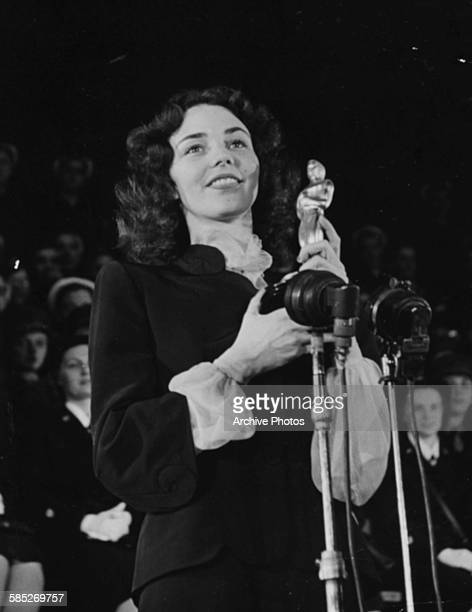 Actress Jennifer Jones receiving her Best Actress Oscar for the film 'The Song for Bernadette' at the 16th Academy Awards Los Angeles March 2nd 1944