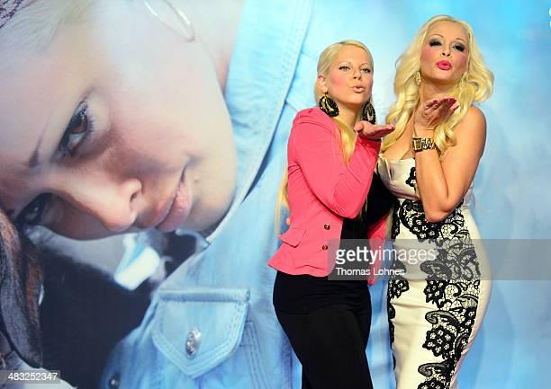 Actress Jennifer Katzenberger and her halfsister Jennifer Frankhauser pose on April 7 2014 in Ludwigshafen Germany Daniela Katzenberger is in the...