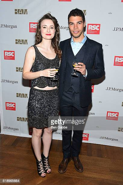 Actress Jennifer Kirby and actor David Abbott attend the Benefit Celebration Honoring Royal Shakespeare Company's 'King Country' at BAM Lepercq Space...