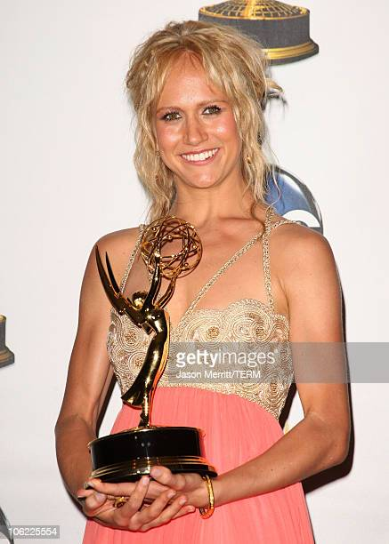Actress Jennifer Landon in the press room at The 35th Annual Daytime Emmy Awards at the Kodak Theatre on June 20 2008 in Los Angeles California
