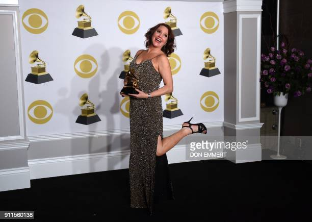 TOPSHOT Actress Jennifer Laura Thompson winner of the Best Musical Theater Album award for 'Dear Evan Hansen' poses in the press room during the 60th...