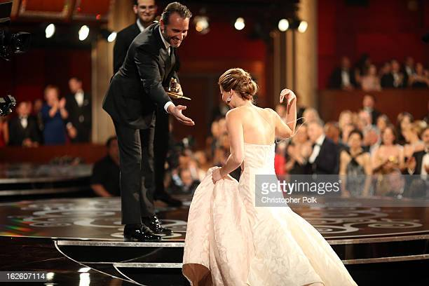 Actress Jennifer Lawrence accepts the award for Actress in a Leading Role onstage during the Oscars held at the Dolby Theatre on February 24 2013 in...