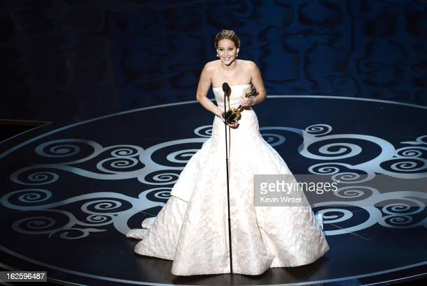 Actress Jennifer Lawrence accepts the Best Actress award for Silver Linings Playbook during the Oscars held at the Dolby Theatre on February 24 2013...