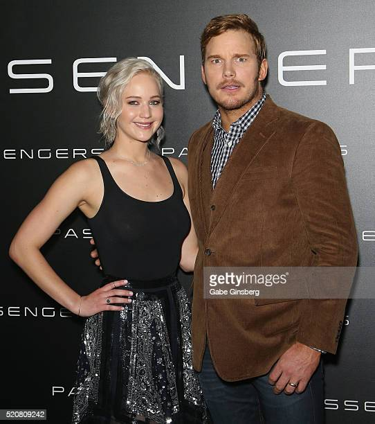Actress Jennifer Lawrence and actor Chris Pratt attend Sony Pictures Entertainment's exclusive product presentation highlighting 2016 films at The...