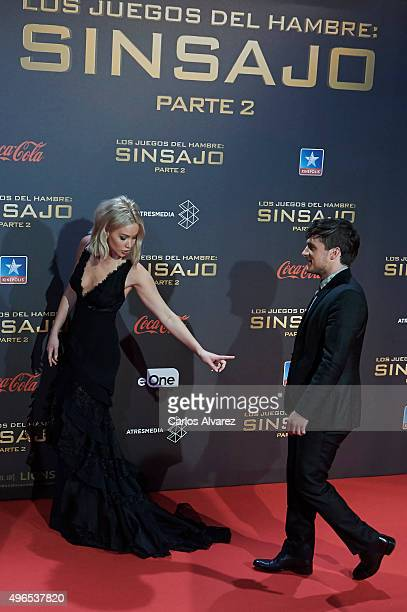 Actress Jennifer Lawrence and actor Josh Hutcherson attend The Hunger Games Mockingjay Part 2 premiere at the Kinepolis Cinema on November 10 2015 in...