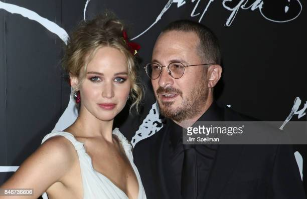 Actress Jennifer Lawrence and director Darren Aronofsky attend the 'mother' New York premiere at Radio City Music Hall on September 13 2017 in New...