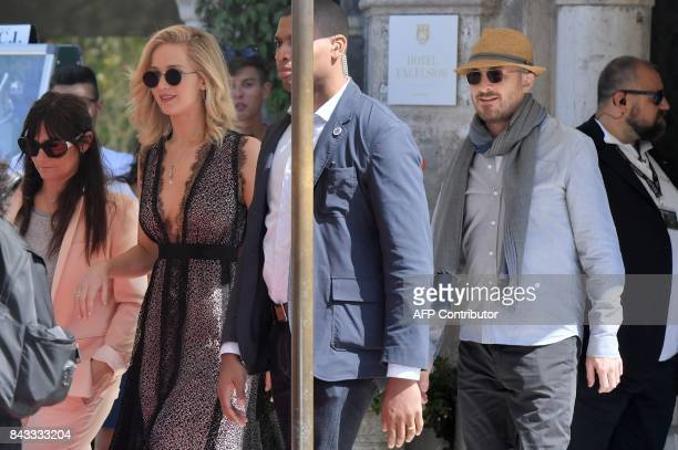 Actress Jennifer Lawrence and director Darren Aronofsky leave the Excelsior Hotel during the 74th Venice Film Festival on September 5 2017 at Venice...