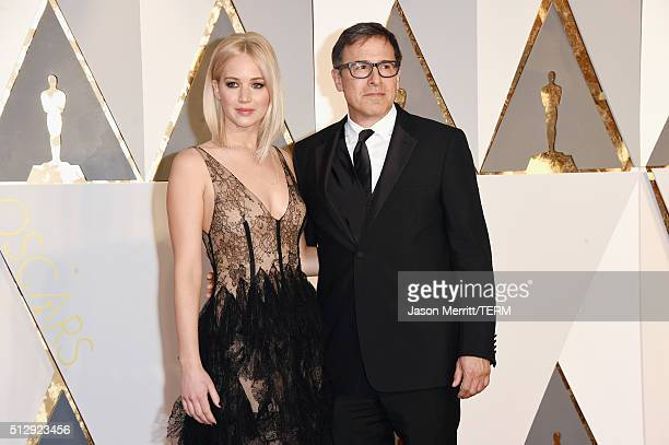 Actress Jennifer Lawrence and director David O Russell attend the 88th Annual Academy Awards at Hollywood Highland Center on February 28 2016 in...