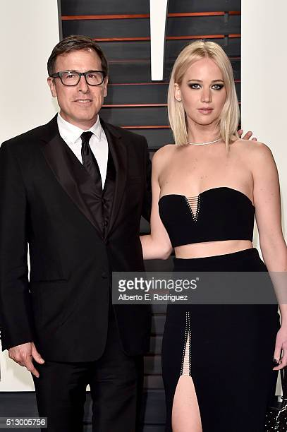 Actress Jennifer Lawrence and director David O. Russell attend the 2016 Vanity Fair Oscar Party hosted By Graydon Carter at Wallis Annenberg Center...