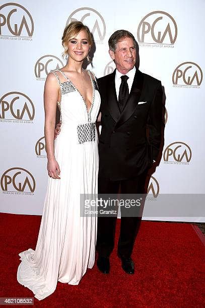 Actress Jennifer Lawrence and Lionsgate CEO Jon Feltheimer attend the 26th Annual Producers Guild Of America Awards at the Hyatt Regency Century...