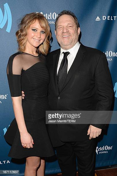 Actress Jennifer Lawrence and producer Harvey Weinstein attend the 24th Annual GLAAD Media Awards at JW Marriott Los Angeles at LA LIVE on April 20...