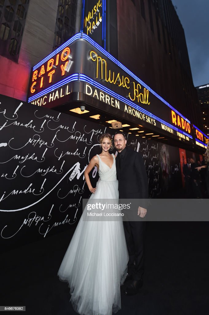 Actress Jennifer Lawrence (L) and writer/director Darren Aronofsky attend the New York premiere of 'mother!' at Radio City Music Hall on September 13, 2017 in New York, New York.