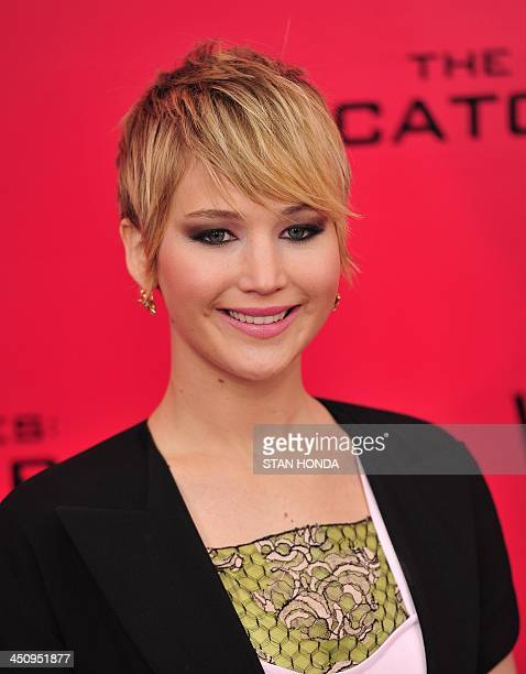 Actress Jennifer Lawrence arrives at a special screening of The Hunger Games Catching Fire November 20 2013 in New York AFP PHOTO/Stan HONDA