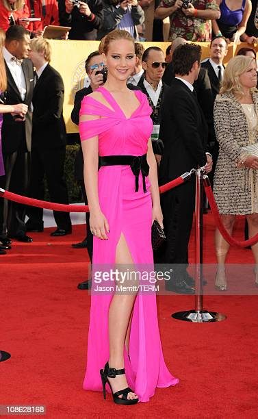 Actress Jennifer Lawrence arrives at the 17th Annual Screen Actors Guild Awards held at The Shrine Auditorium on January 30 2011 in Los Angeles...