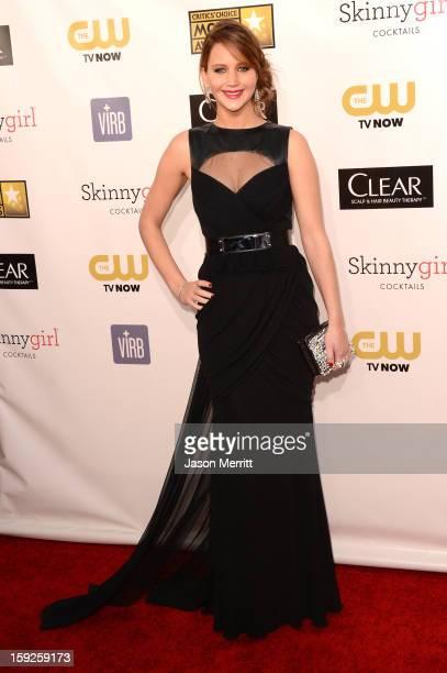 Actress Jennifer Lawrence arrives at the 18th Annual Critics' Choice Movie Awards held at Barker Hangar on January 10 2013 in Santa Monica California