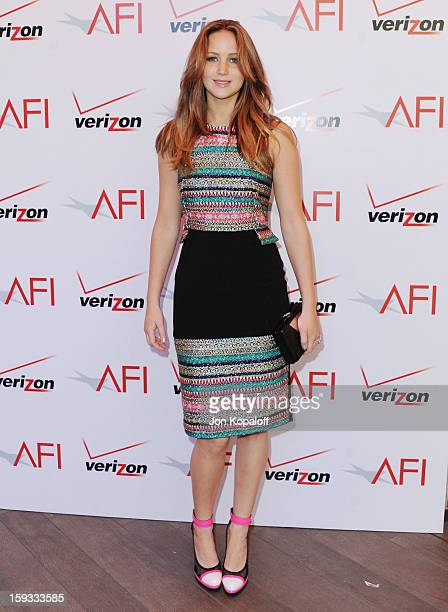 Actress Jennifer Lawrence arrives at the 2012 AFI Awards Luncheon on January 11 2013 in Beverly Hills California