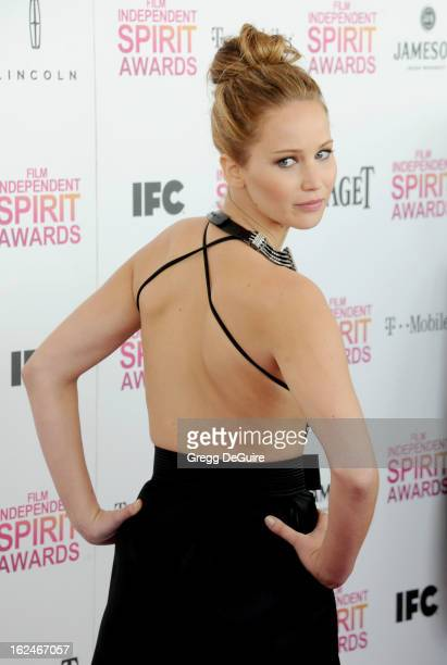 Actress Jennifer Lawrence arrives at the 2013 Film Independent Spirit Awards at Santa Monica Beach on February 23 2013 in Santa Monica California