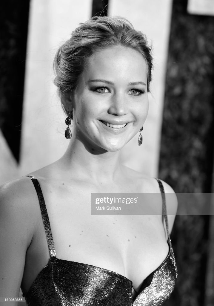 Actress Jennifer Lawrence arrives at the 2013 Vanity Fair Oscar Party at Sunset Tower on February 24, 2013 in West Hollywood, California.