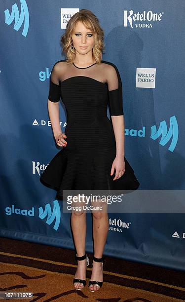 Actress Jennifer Lawrence arrives at the 24th Annual GLAAD Media Awards at JW Marriott Los Angeles at LA LIVE on April 20 2013 in Los Angeles...