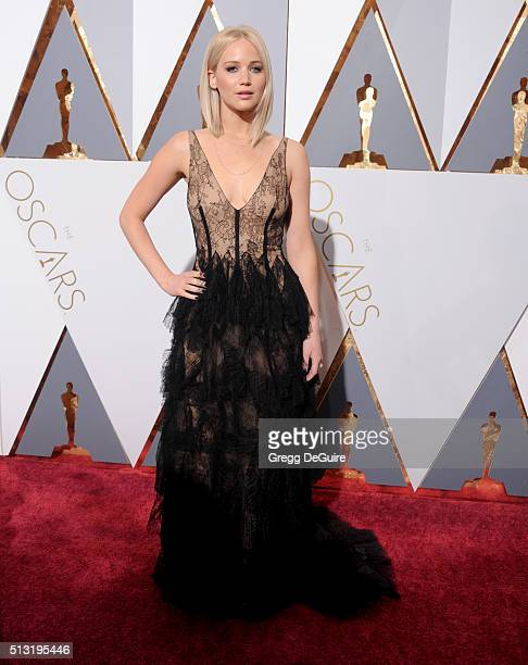 Actress Jennifer Lawrence arrives at the 88th Annual Academy Awards at Hollywood Highland Center on February 28 2016 in Hollywood California