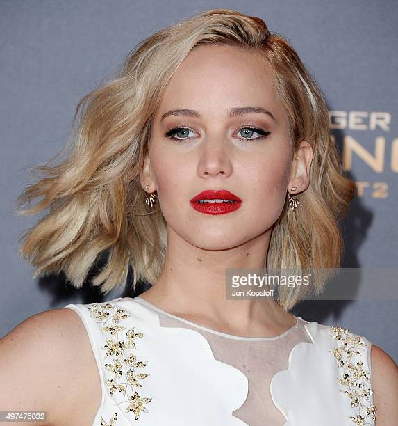 """Actress Jennifer Lawrence arrives at the Los Angeles Premiere Of Lionsgate's """"The Hunger Games: Mockingjay - Part 2"""" at Microsoft Theater on November..."""