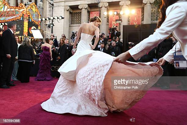 Actress Jennifer Lawrence arrives at the Oscars held at Hollywood Highland Center on February 24 2013 in Hollywood California