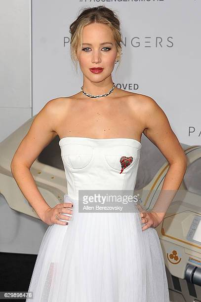 """Actress Jennifer Lawrence arrives at the Premiere of Columbia Pictures' """"Passengers"""" at Regency Village Theatre on December 14, 2016 in Westwood,..."""