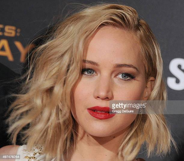 """Actress Jennifer Lawrence arrives at the premiere of Lionsgate's """"The Hunger Games: Mockingjay - Part 2"""" at Microsoft Theater on November 16, 2015 in..."""