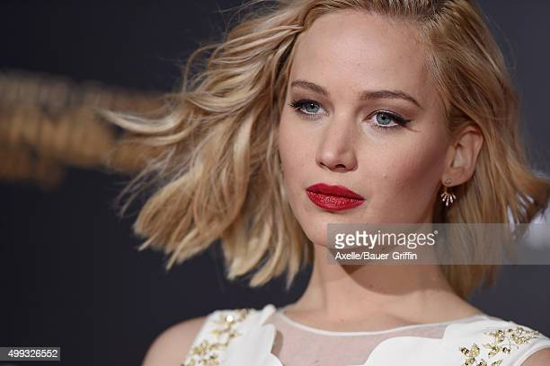 Actress Jennifer Lawrence arrives at the premiere of Lionsgate's 'The Hunger Games Mockingjay Part 2' at Microsoft Theater on November 16 2015 in Los...