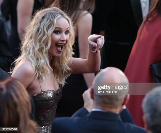 Actress Jennifer Lawrence arrives for the 90th Annual Academy Awards on March 4 in Hollywood, California. / AFP PHOTO / Kyle GRILLOT