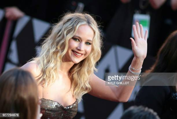 TOPSHOT Actress Jennifer Lawrence arrives for the 90th Annual Academy Awards on March 4 in Hollywood California