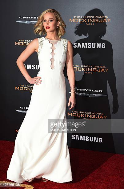 Actress Jennifer Lawrence arrives for the premiere of Lionsgate's 'The Hunger Games Mockingjay Part 2' at Microsoft Theater in Los Angeles California...