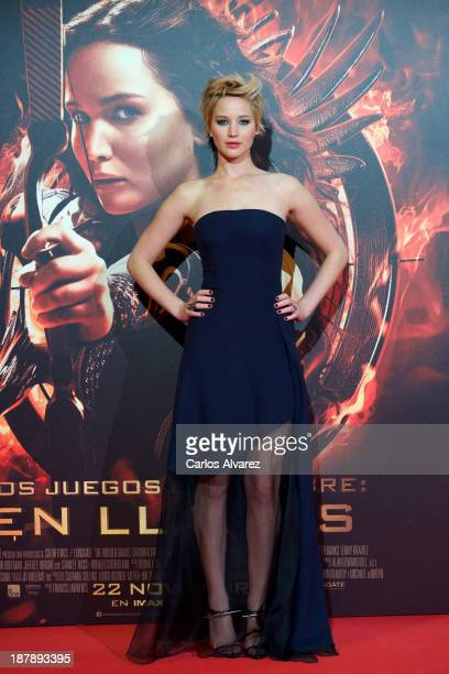 Actress Jennifer Lawrence attenda the Spanish premiere of the film The Hunger Games Catching Fire at the Callao cinema on November 13 2013 in Madrid...