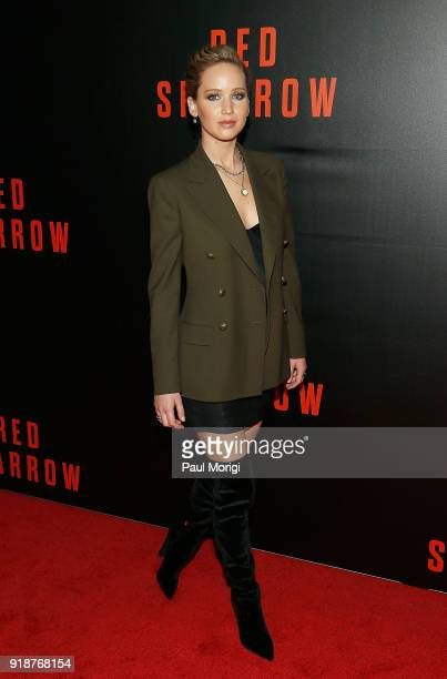 Actress Jennifer Lawrence attends a special screening of 'Red Sparrow' at The Newseum on February 15 2018 in Washington DC