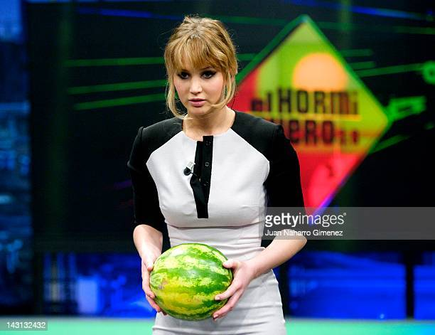 Actress Jennifer Lawrence attends El Hormiguero TV show at Vertice 360 Studio on April 19 2012 in Madrid Spain
