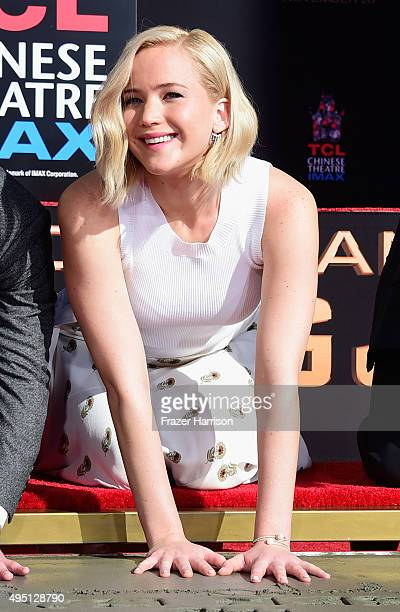 Actress Jennifer Lawrence attends Lionsgate's The Hunger Games Mockingjay Part 2 Hand and Footprint Ceremony at TCL Chinese Theatre on October 31...