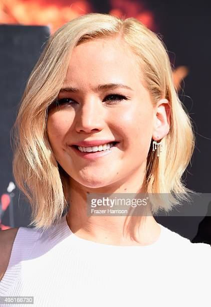 Actress Jennifer Lawrence attends Lionsgate's 'The Hunger Games Mockingjay Part 2' Hand and Footprint Ceremony Stars From Lionsgate's The Hunger...