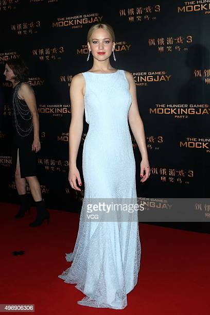 Actress Jennifer Lawrence attends 'Los Juegos Del Hambre Sinsajo Part 2' premiere at the Solana on November 12 2015 in Beijing China