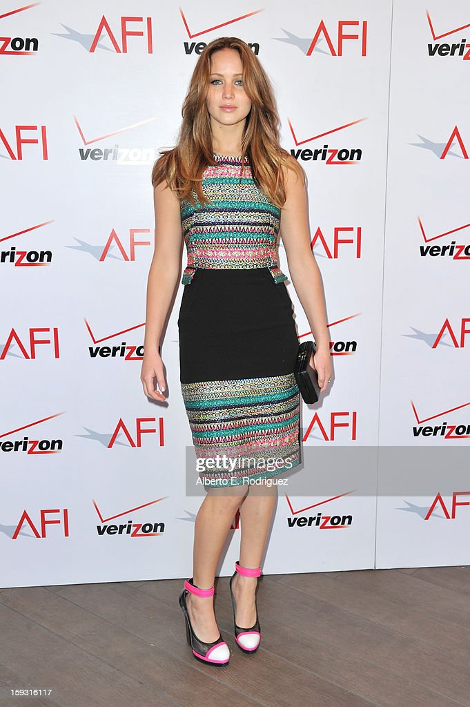 Actress Jennifer Lawrence attends the 13th Annual AFI Awards at Four Seasons Los Angeles at Beverly Hills on January 11, 2013 in Beverly Hills, California.