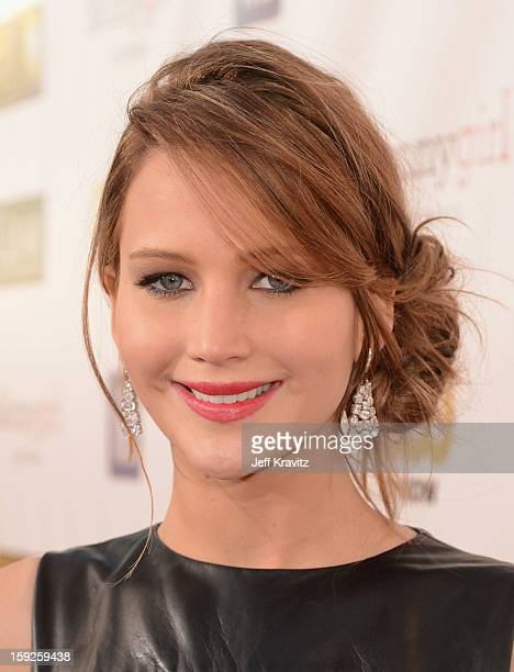 Actress Jennifer Lawrence attends the 18th Annual Critics' Choice Movie Awards at Barker Hangar on January 10, 2013 in Santa Monica, California.