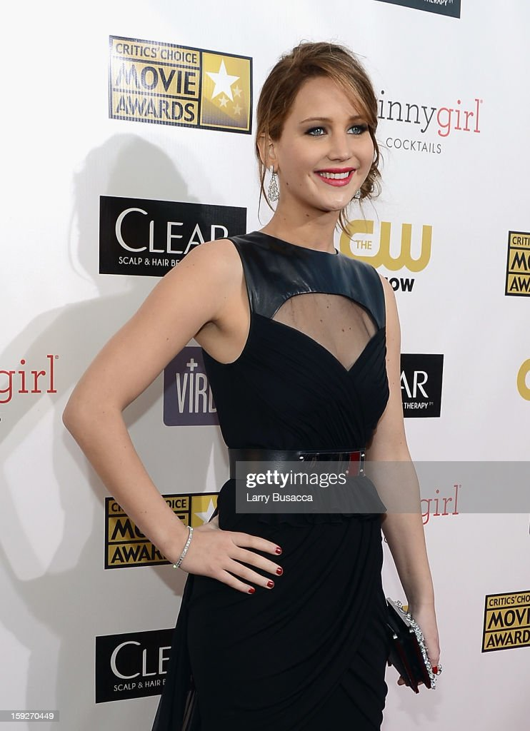 Actress Jennifer Lawrence attends the 18th Annual Critics' Choice Movie Awards held at Barker Hangar on January 10, 2013 in Santa Monica, California.