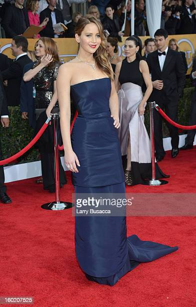 Actress Jennifer Lawrence attends the 19th Annual Screen Actors Guild Awards at The Shrine Auditorium on January 27 2013 in Los Angeles California...