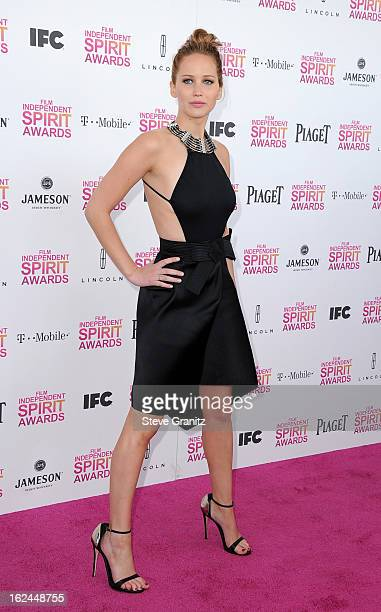 Actress Jennifer Lawrence attends the 2013 Film Independent Spirit Awards at Santa Monica Beach on February 23 2013 in Santa Monica California