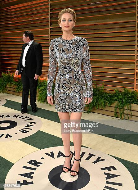 Actress Jennifer Lawrence attends the 2014 Vanity Fair Oscar Party Hosted By Graydon Carter on March 2 2014 in West Hollywood California