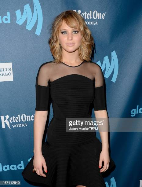 Actress Jennifer Lawrence attends the 24th Annual GLAAD Media Awards at JW Marriott Los Angeles at LA LIVE on April 20 2013 in Los Angeles California